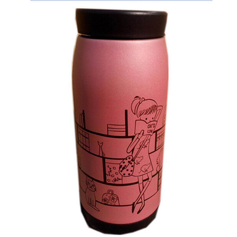 Frasco de vacío de acero inoxidable Botella Agua Café Termo Gran Vientre Forma 12 oz rosa
