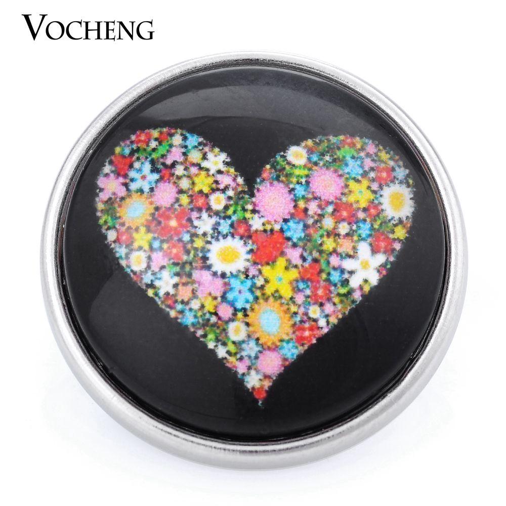 VOCHENG NOOSA 18mm 유리 단추 꽃 생강 스냅인 Vn-1002