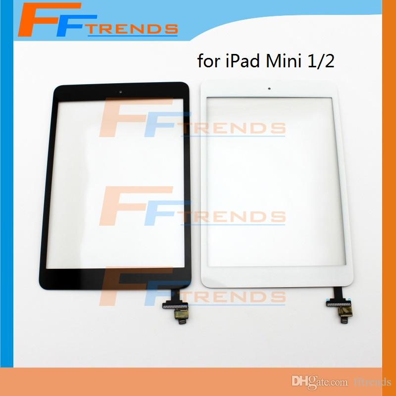 10PCS For iPad Mini 1 2 Touch Screen Digitizer Assembly with Home Button & IC White Black Glass Front Lens Replacement Part Free Ship