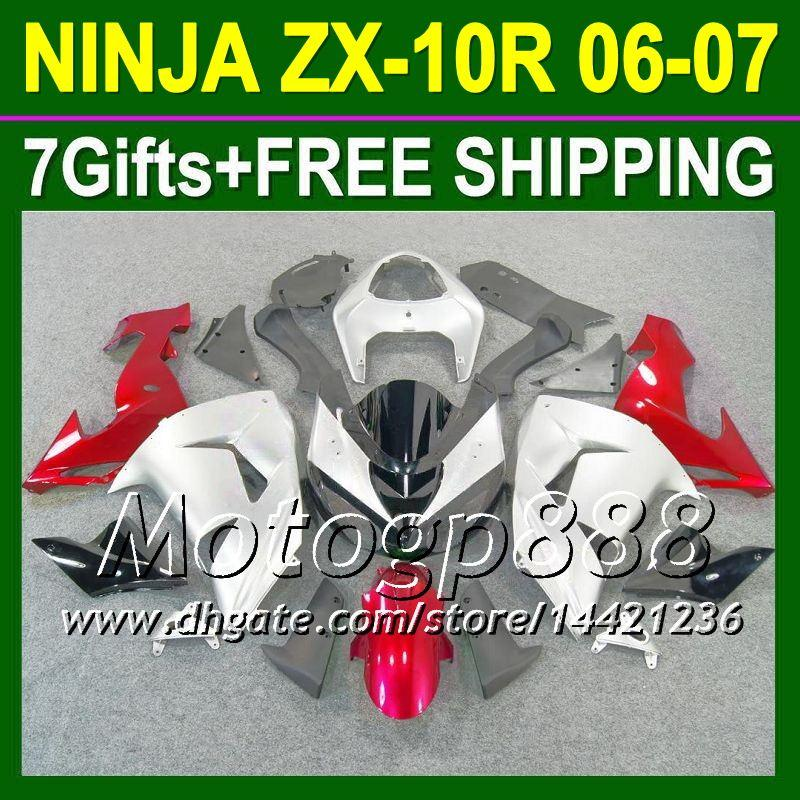 7gifts Body For KAWASAKI NINJA ZX10R Red sivler 06-07 ZX 10R 10 R 20P16 silvery red ZX-10R 10R 06 07 2006 2007 Fairing Kit Free shipping