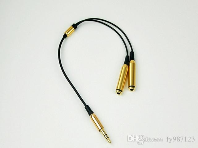 حار بيع معدن 3.5 ملم ستيريو جاك مصغرة 1 ذكر إلى 2 أنثى الفاصل سماعة الصوت AUX كابل للهاتف المحمول MP3