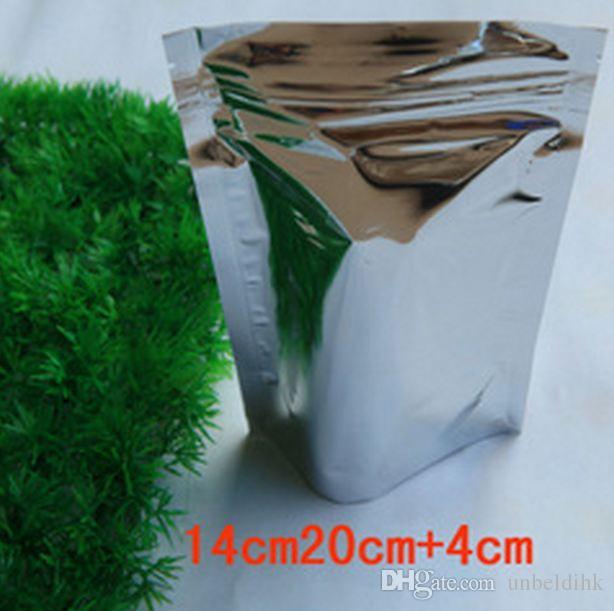 Бесплатная доставка 14 * 20+4 см высокое качество встать алюминиевой фольги Алюминирования молния топ упаковка zip lock сумка для хранения Resealable еда кофе