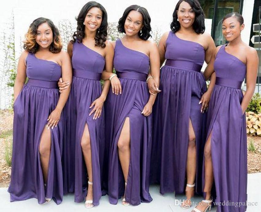 Venta al por mayor Los últimos vestidos 2018 de una línea púrpuras ...