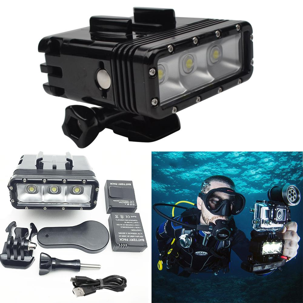 Freeshipping For Diving flash Light Spot lamp Underwater Waterproof LED Flash Video Light For GoPro Hero 5/4/Session SJCAM Xiaomi Yi 2 4K