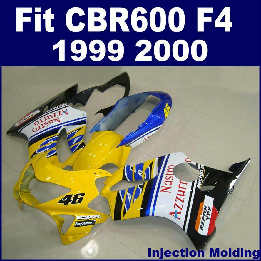 7Gifts + 100 ٪ حقن صب ل HONDA fairings CBR600 F4 1999 2000 أصفر أبيض 99 00 cbr 600 f4 fairings kits RVBH