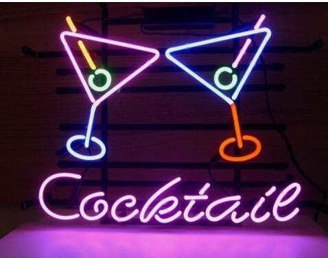 """Cocktails Double Glasses Cup Neon Sign Customized Handmade Real Glass Tube Drink Store Shop Bar Pub Advertising Display Neon Signs 17""""X14"""""""
