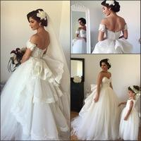2015 New Spring V Neck Princess Ball Gown Wedding Dresses with Detachable Train Beaded Lace Tulle Wedding Gown Vestidos De Noiva