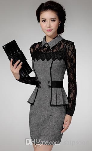 Toptan-Vestidos gündelik elbise Ücretsiz Kargo kış Elbise Satış Kazak Zarif Klasik dantel mizaç paketi kalça elbise