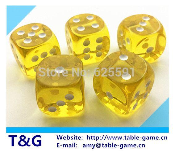 5шт / комплект TG кости высокого качества 16 мм прозрачный желтый круглый кости играть