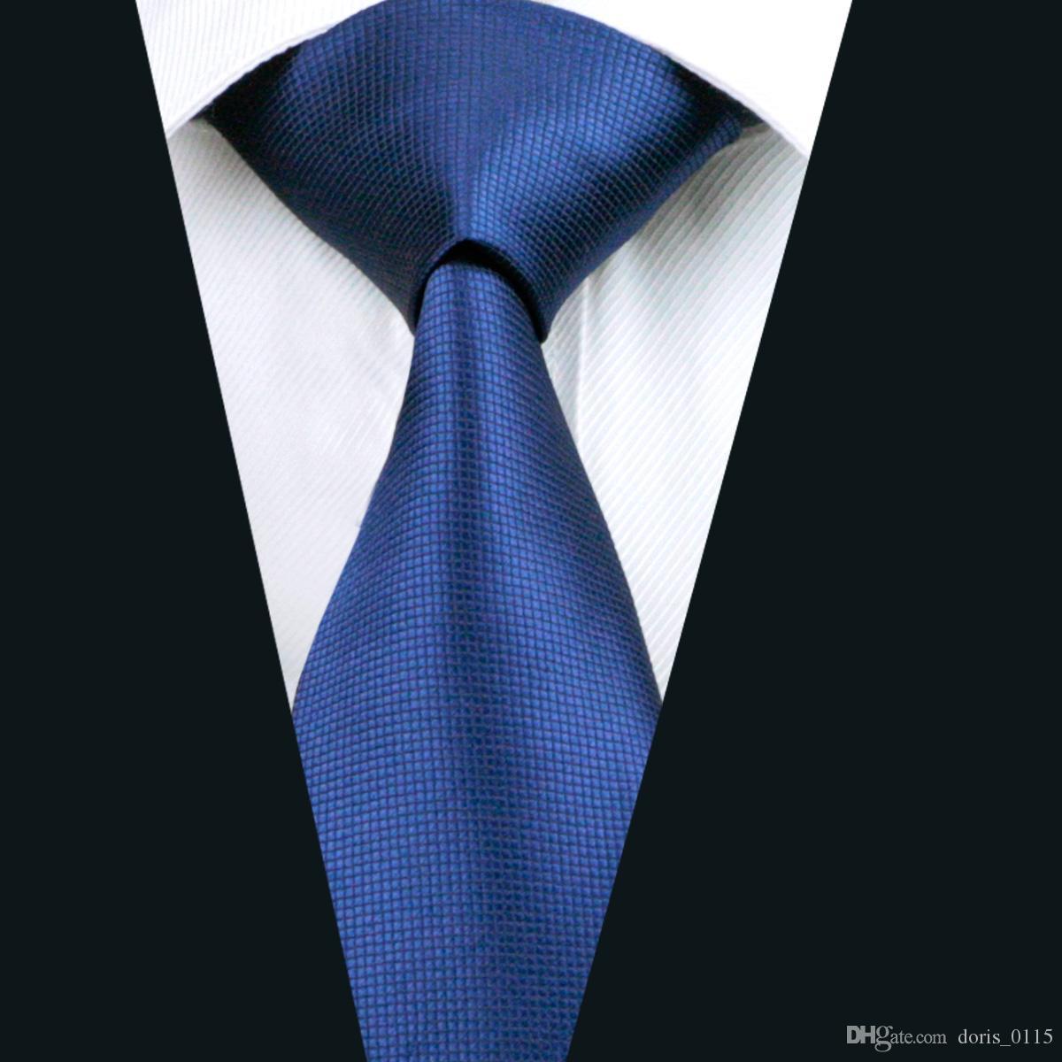 Clássico Azul Sólida Gravata para Homens De Seda Jacquard Tecido Negócio Gravata Reunião Ocasional Terno Empate D-0326
