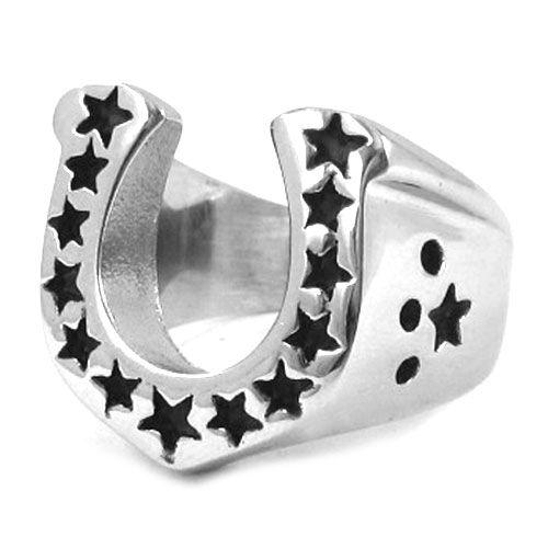 Бесплатная доставка! U-образный подкова байкер кольцо из нержавеющей стали ювелирные изделия мода счастливые звезды мотор байкер кольцо SWR0028