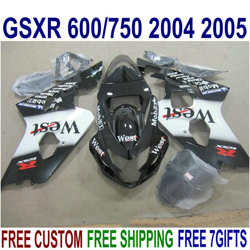 Kit de alta qualidade para SUZUKI GSXR600 GSXR750 04 05 K4 aftermarket GSX-R600 / 750 2004 2005 branco preto West fairings set U27J