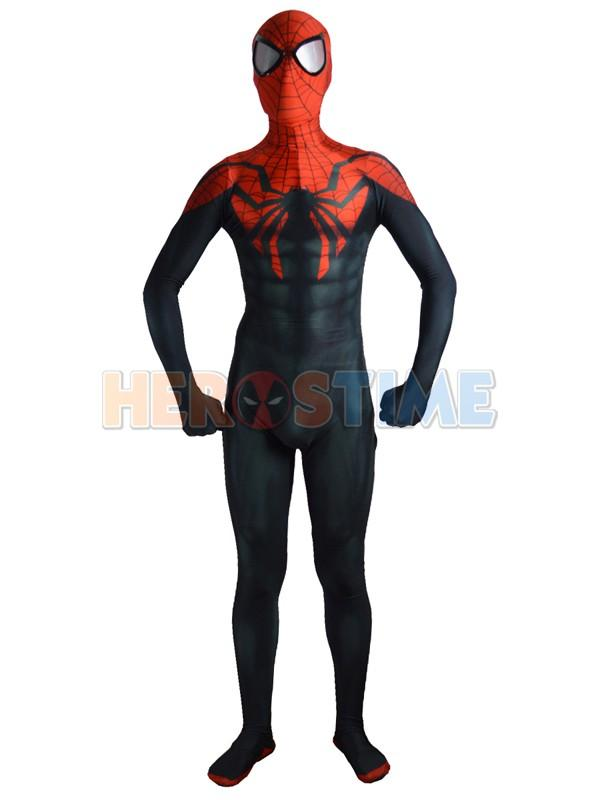 Free Shipping Superior Spider-man Costume Black Red Spandex Fullbody Spiderman Superhero Costume For Halloween Cosplay Hot Sale