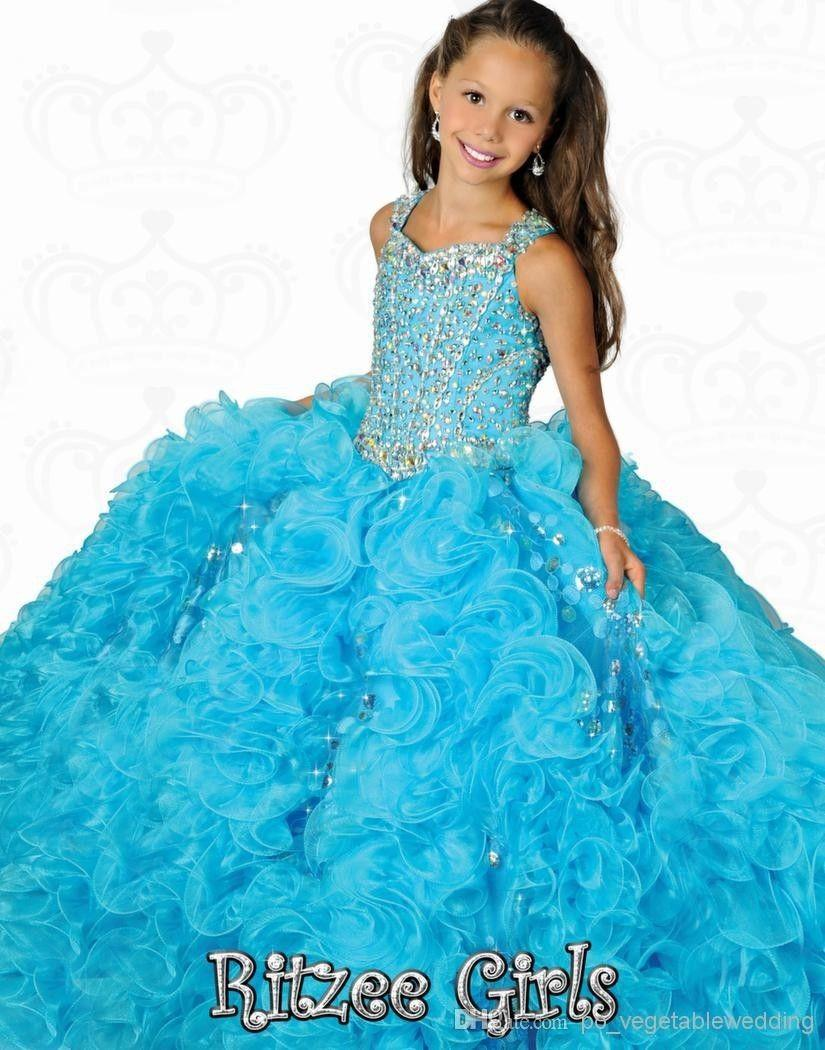 Wholesale -2015 Beautiful Crystal Girls Pageant Dresses Ritzee ...
