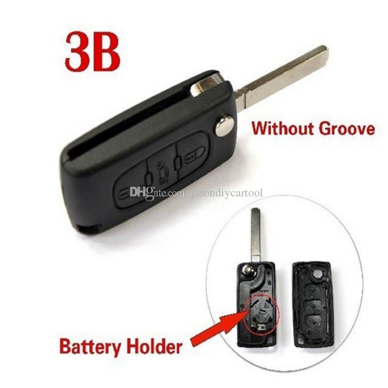 Portachiavi pieghevole a 3 bottoni con fodera a chiave pieghevole a conchiglia Lama senza scanalatura con portabatteria per Citroen C4 C5 C6 C8 Xsara Picasso