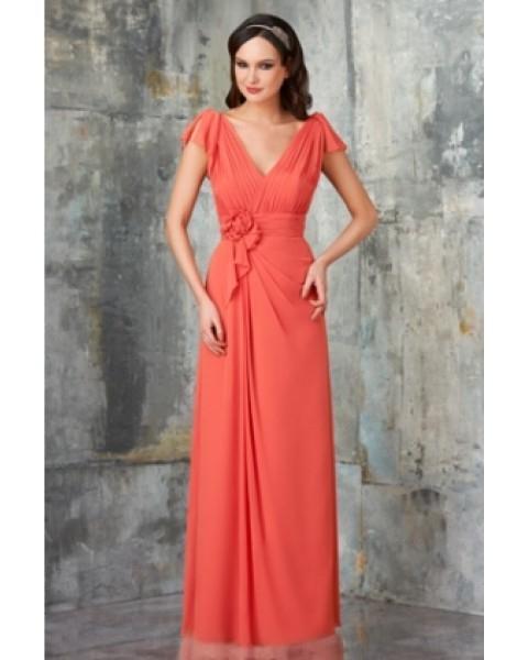 2016 جديدة رخيصة الساخن بيع الأزياء shippping مجانا خط قصير الأكمام الخامس الرقبة الشيفون الطابق طول فستان العروسة مع زهرة (BD0785)