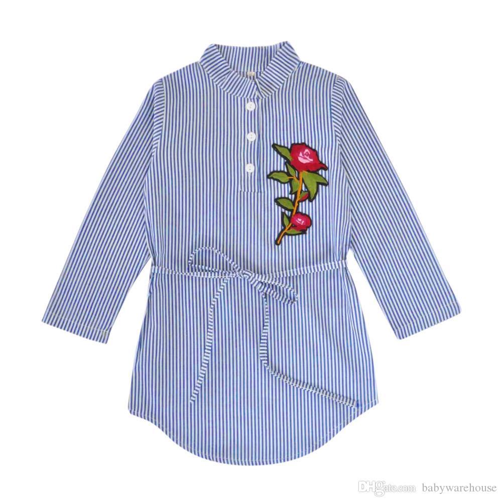 Baby Mädchen Kleidung Mode Baby Kinder Mädchen Blume Rose Stickerei Streifen Kleid Prinzessin Gürtel Kleider Kinder Kleidung Kleinkind Outfits Kostüm