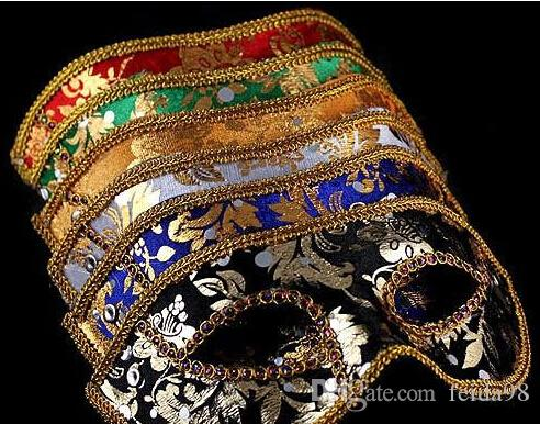 20 PCS Demi-Masque Halloween Masquerade masque mâle Italie Italie flathead dentelle lumineux tissu masques
