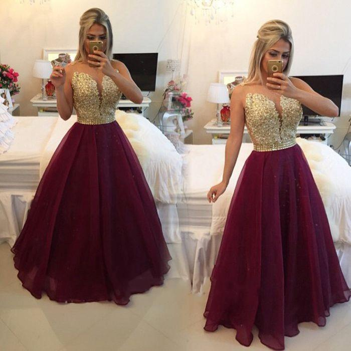 Gold and Burgundy Prom Dresses Long Backless 2016 Beaded V Neck ...