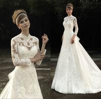 New Princess Applique Lace High Neck A-Line Long Sleeve Wedding Dresses 2015 Bridal Gowns Vestido de Noiva With Detachable Train