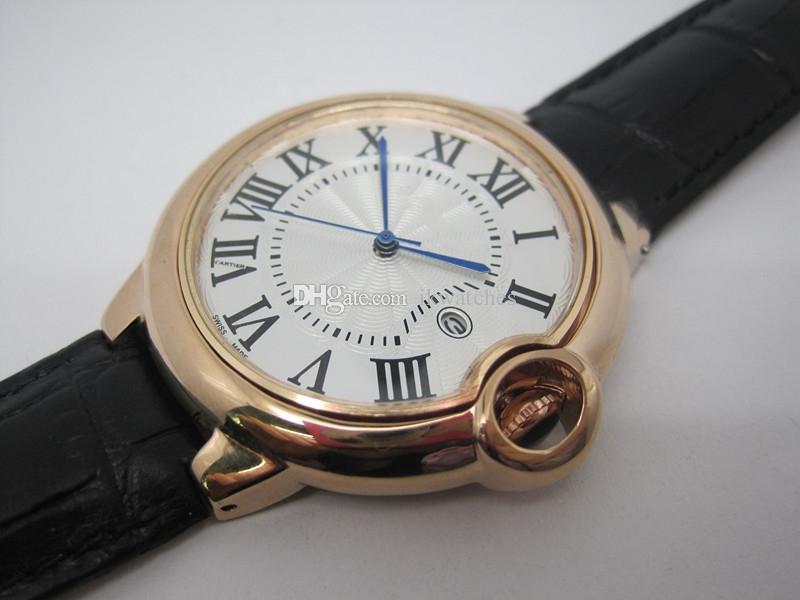 망고 시계 스테인레스 스틸 쿼츠 시계 블랙 가죽 시계 남자를위한 손목 시계 071