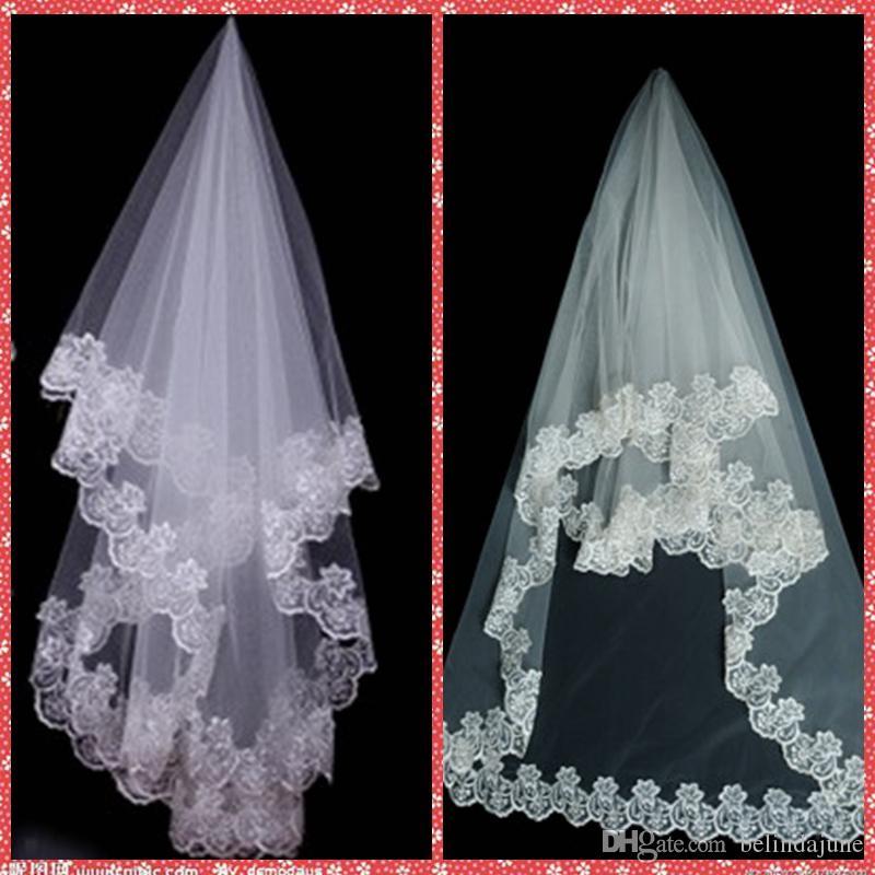 رخيصة الأبيض العاج الرباط الأحمر الزفاف الحجاب صافي طبقة واحدة 1.5M اكسسوارات الزفاف الرباط طويل لعام 2015 الحجاب الزفاف رخيصة بيع الزفاف