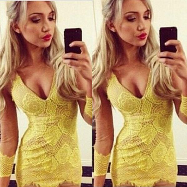 حديثا الأزياء 2015 المرأة مثير اللباس العميق الخامس فساتين طويلة الأكمام الأصفر ضيق bodycon الرباط فساتين s m l