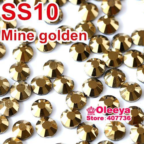 SS10 2.7-2.8mm, 1440 unids / bolsa Aurum Hematite Gold DMC HotFix FlatBack Rhinestones sueltos, máquina de corte de hierro cristales piedras Y0120