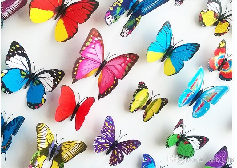 각종 색깔 나비 냉장고 자석 스티커 냉장고 자석 120PCS / 꾸러미 냉장고 부엌 방 거실 Decora