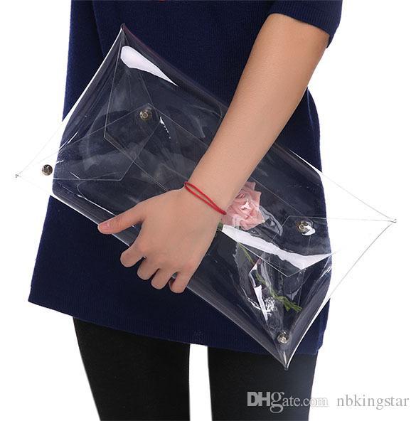 Envelope de PVC Saco de Embraiagem Transparente Saco Claro Transporte Transversor Feminino Mulheres Bolsa Corporal Cor KBQuj