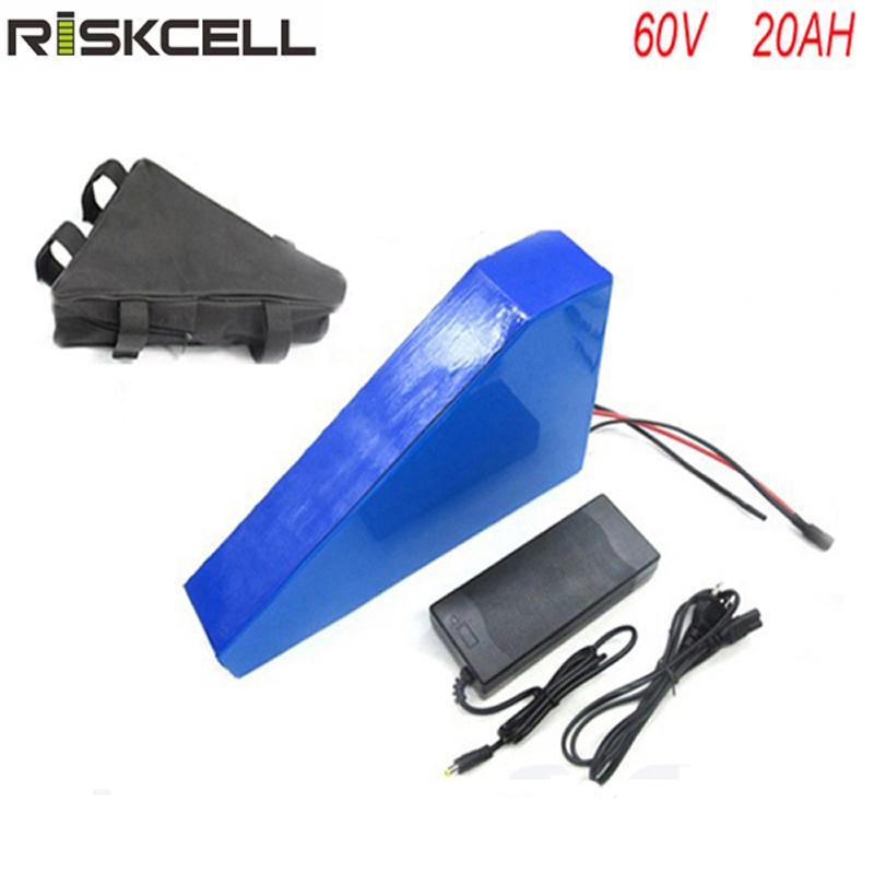 Hot sale 60v lithium ion battery 60v 20ah e bike battery for 60v 2000w Triangle style electric bike battery with BMS +charger