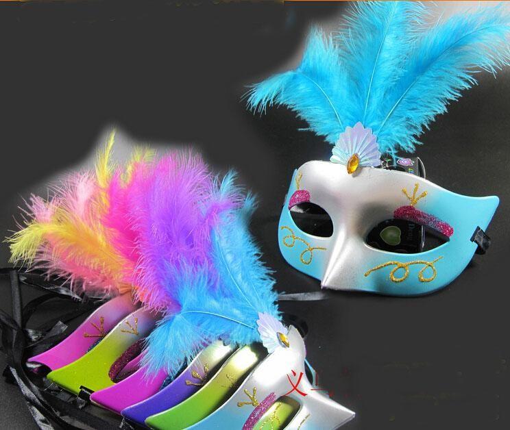 Maschera di piume colorate maschera di plastica Halloween prestazioni mascherata feste di compleanno giocattoli JIA363