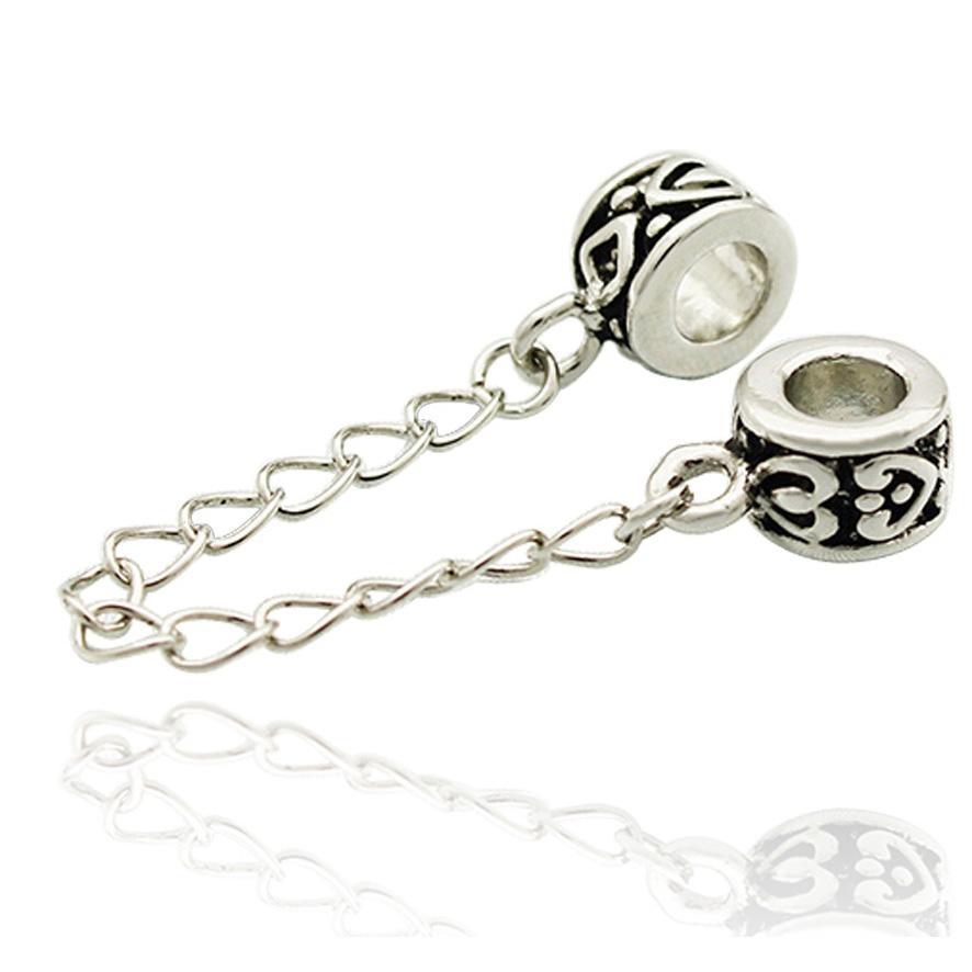 5 мм отверстие Античное серебро цвет родиевое покрытие цепи безопасности ссылка шарик распорка сердце Шарм Fit Pandora браслет