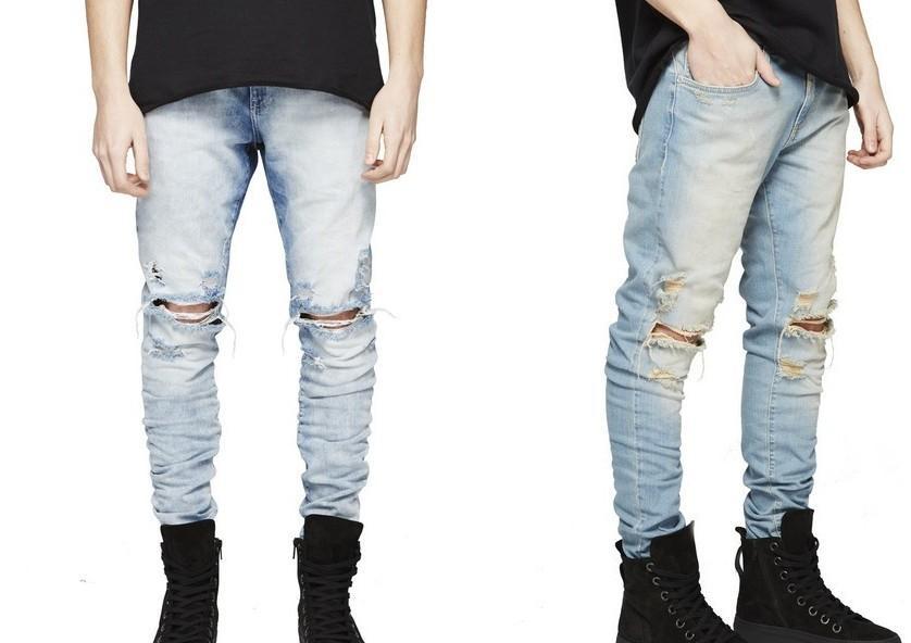 HOT 2017 RAPPRESENTATI pantaloni da uomo firmati denim moda tuta nero / blu chiaro distrutto strappato strappato jeans strappati