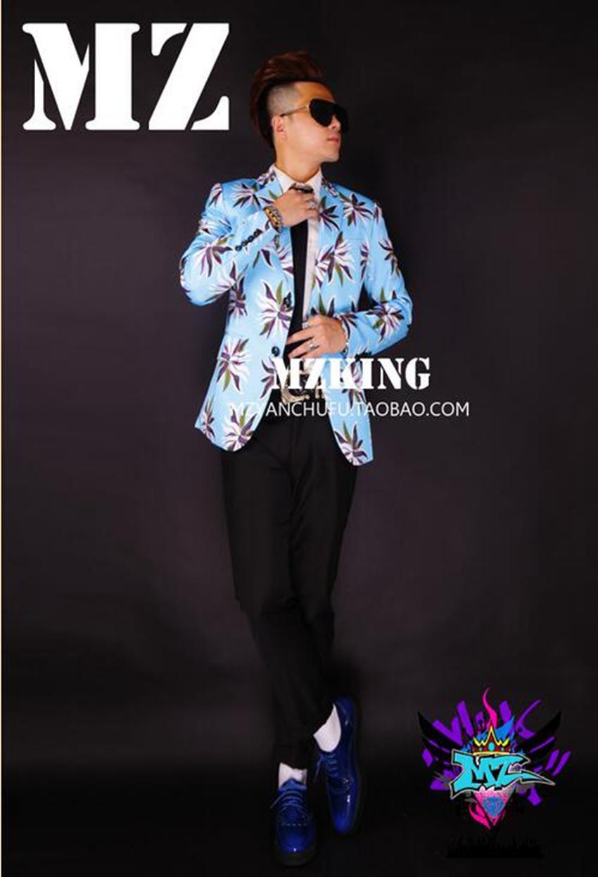 남자가 수 유럽과 미국의 패션 새로운 나이트 클럽 검은 양복 의상 파란색 꽃입니다. S - 6 xl