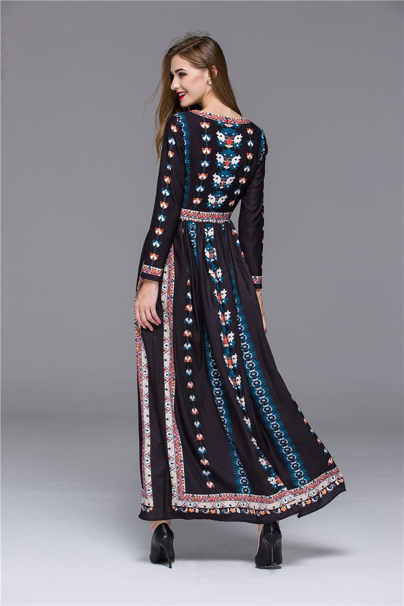 Women Maxi Dresses V Neck Vintage 70s Mexican Ethnic Floral Dress ...