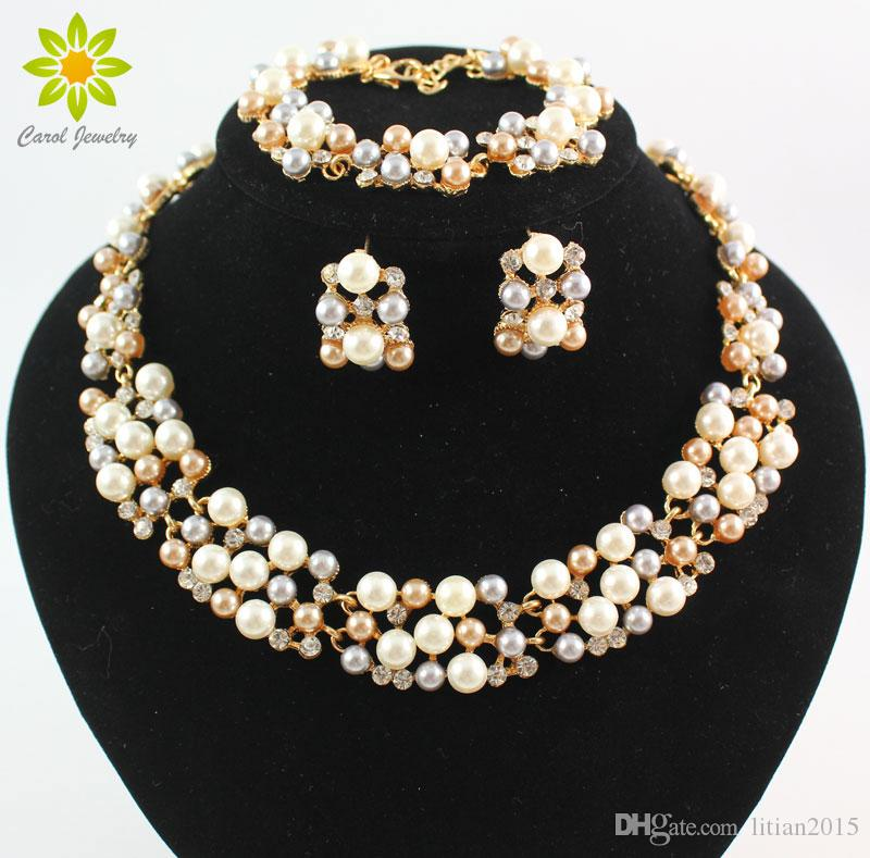 18K Gold Plated Pearl Austrian Crystal Jewelry Sets Vintage Fashion Necklaces For Women Imitation Wedding Accessories