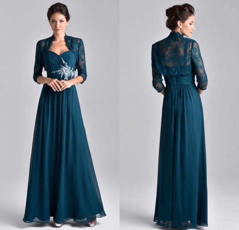 Plus Size Teal Blue Chiffon Mother Of The Bride Dress 3/4 Long Sleeve With  Lace Jacket Crystal Beaded Mother Evening Gowns Mother Of Bride Dresses ...