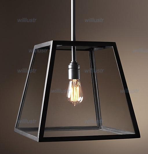RH Lighting Restoration Hardware Vintage Pendant Lamp FILAMENT PENDANT  Edison Bulb Glass Box RH Loft Lights Unusual Pendant Lights Low Voltage  Pendant ...