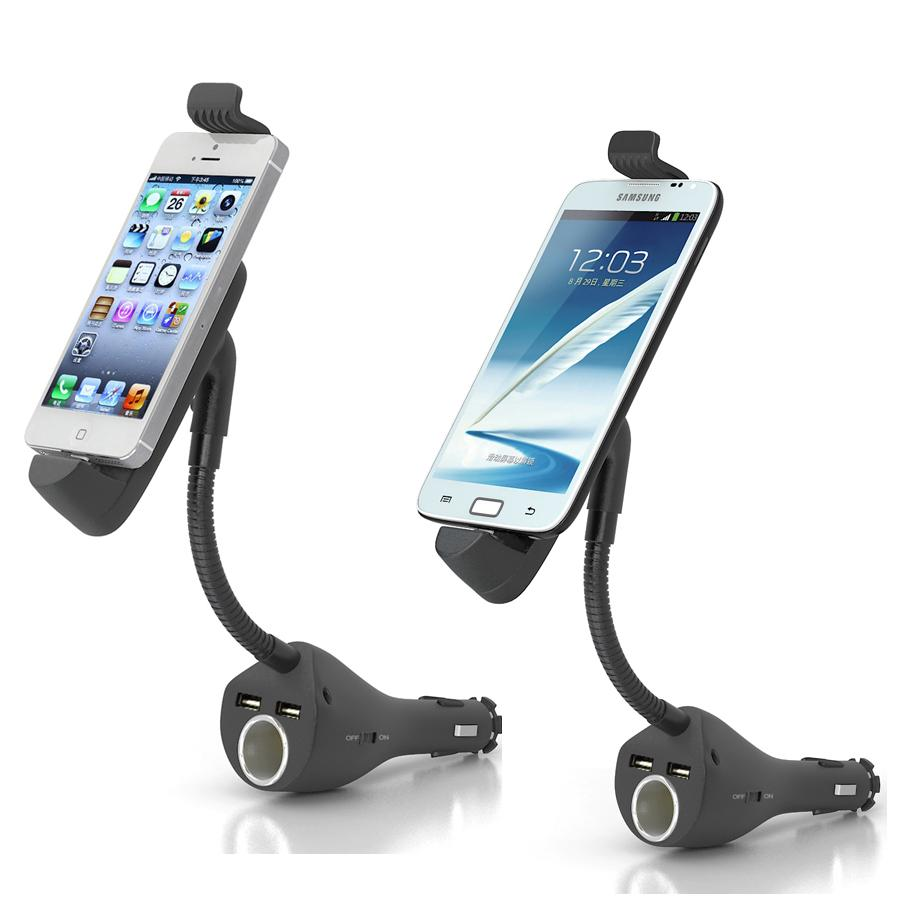 Car Phone Holder Mount Stand With Dual USB Charger Cigarette