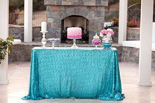 For Sale Turquoise Sequin Tablecloth, Blue Sequin Glitz Linen, Aqua Sequin  Linen, Frozen