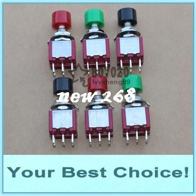 100 pçs / lote 6mm DPDT momentânea botão interruptor, 6 pinos (DHL frete grátis)