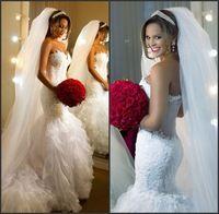 Vestido De Noiva 2015 New Romantic Sweetheart Appliques Lace Mermaid Wedding Dresses With Ruffles Organza Bridal Gown