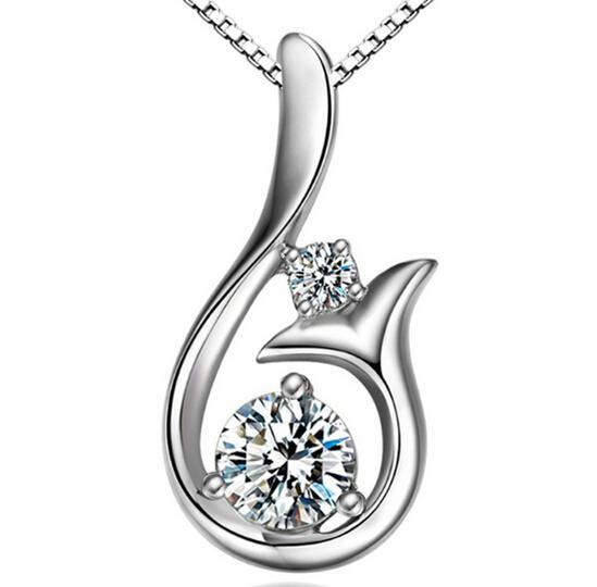 Collana con ciondolo di diamanti di grado superiore Collana con ciondoli di sirena con cubic zircone 30%, 925, in argento sterling, per gioielli da donna