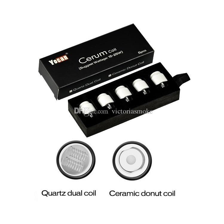 MOQ = 10pcs Auténtica Yocan Cerum Coil Head cerámica Donut Quartz Dual QDC bobinas de repuesto para Cerum Vaporizador Atomizer 3 colores 100% genuino