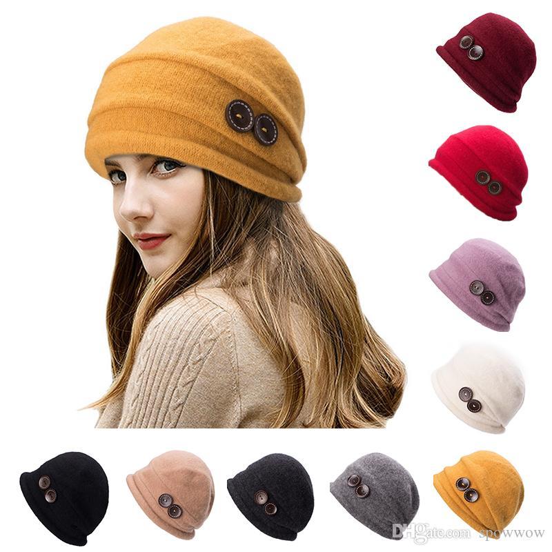 Unisexe Casual Beanie Skull Buttons 100% laine Feutre Baggy Chapeau Hiver Classique Chaud Cloche Earmuffs Bonnet T178