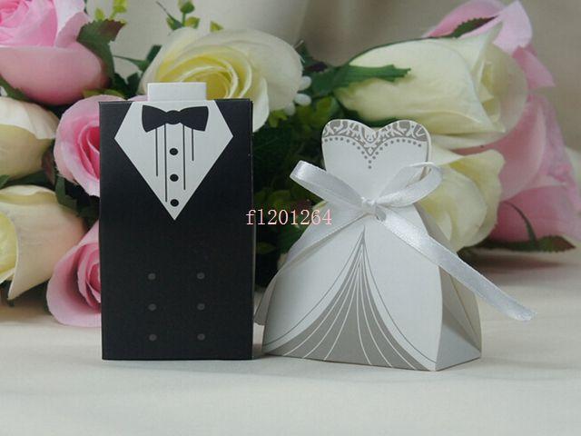 Fedex DHL Livraison Gratuite Date Mode mariée et le marié boîte Boîte de faveur de mariage Boîte cadeau Boîte de bonbons, 1000pcs / lot (= 500 paires)