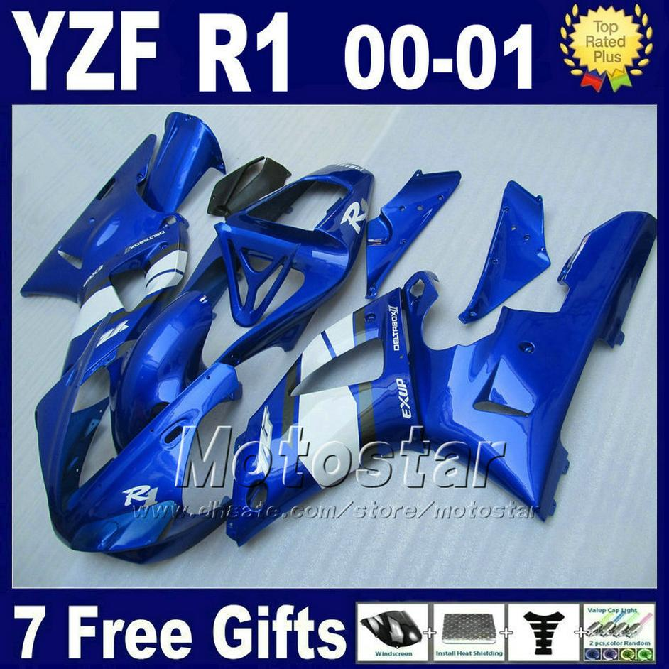 fairings blue for YAMAHA YZF R1 00 01 fairing kits 2000 2001 YZFR1 yzf1000 B13C رخيصة ذات نوعية جيدة أجزاء عدة بلاستيكية + 7 هدايا