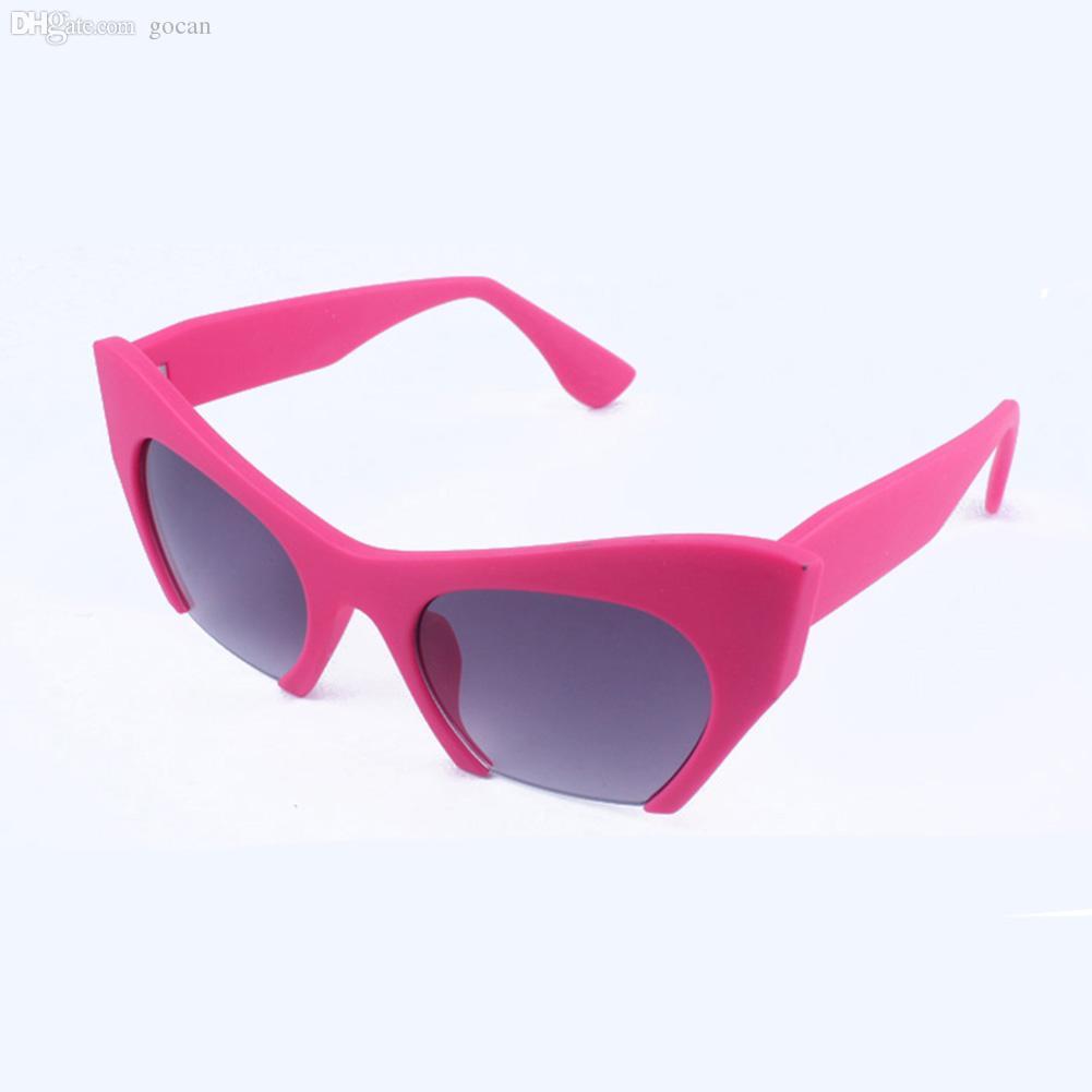 Atacado-Plástico Metade Quadro Cat Eye Sunglasses Resina Mulheres Revestimento 4 Cor Marca feminino oculos Óculos Presentes