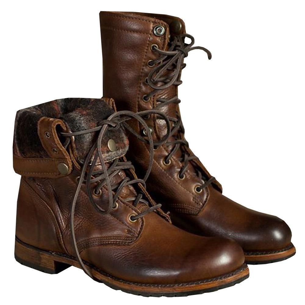 Preventa 38-46 nuevos hombres de la vendimia con cordones Martin moda militar Knight Boots remache botas de la motocicleta ocasionales botas de trabajo occidental más el tamaño
